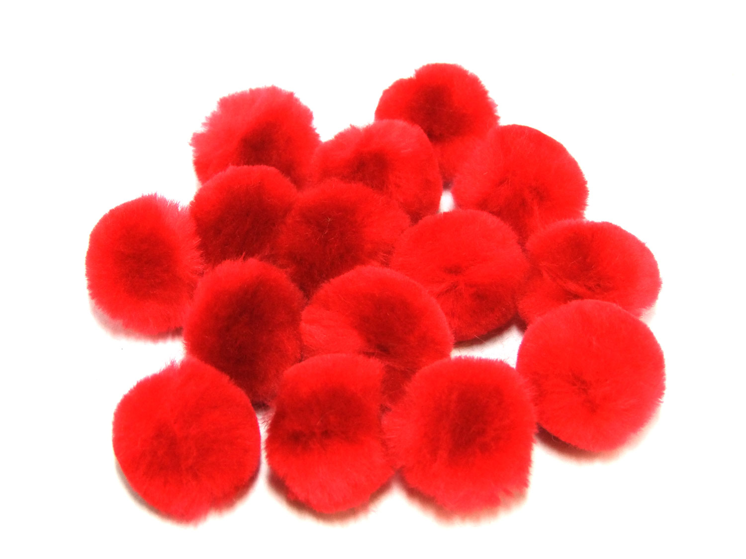 red craft pom poms