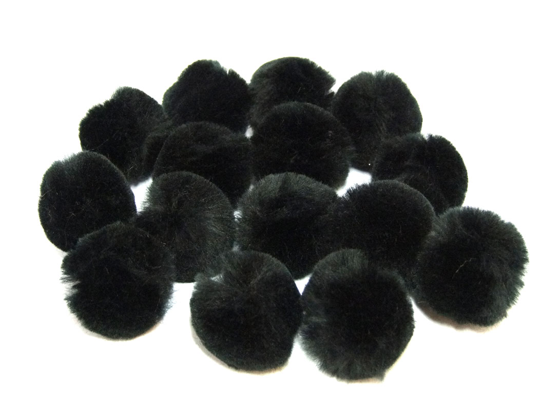 black craft pom poms