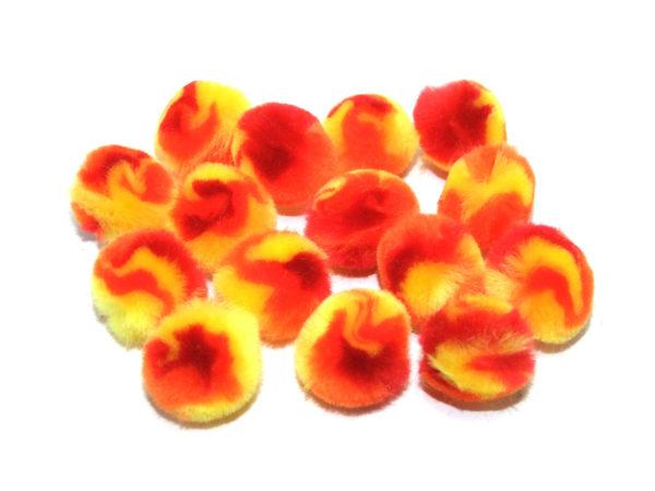 multicoloured-orange-and-red-pom-poms