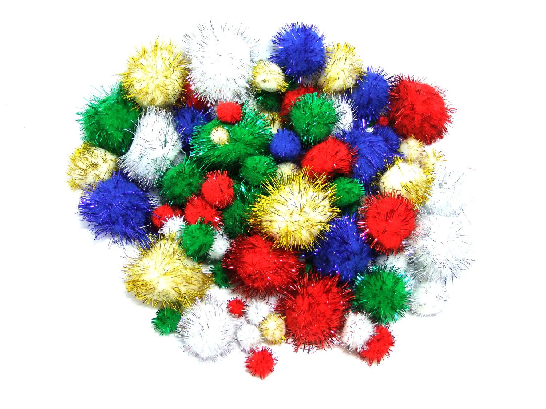 Glitter pom poms for crafts art craft factory tinsel for Pom pom crafts