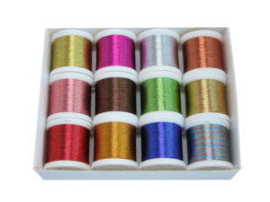 12 Metallic Polyester Machine Embroidery Threads (12 x 100m)