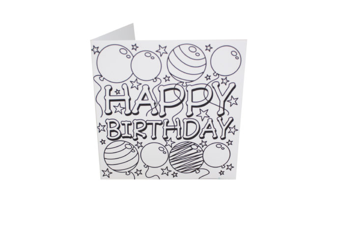 Awesome Birthday Card To Colour Pictures Coloring Ideas