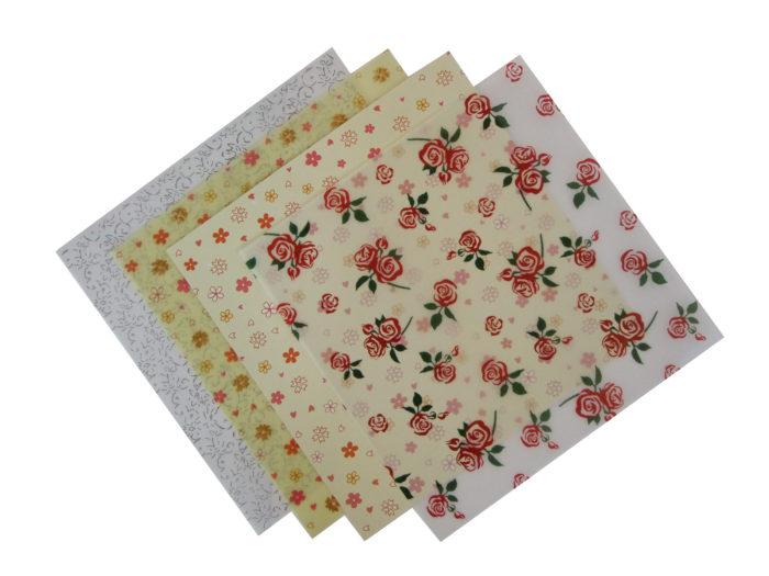 patterned floral vellum paper  4 sheets