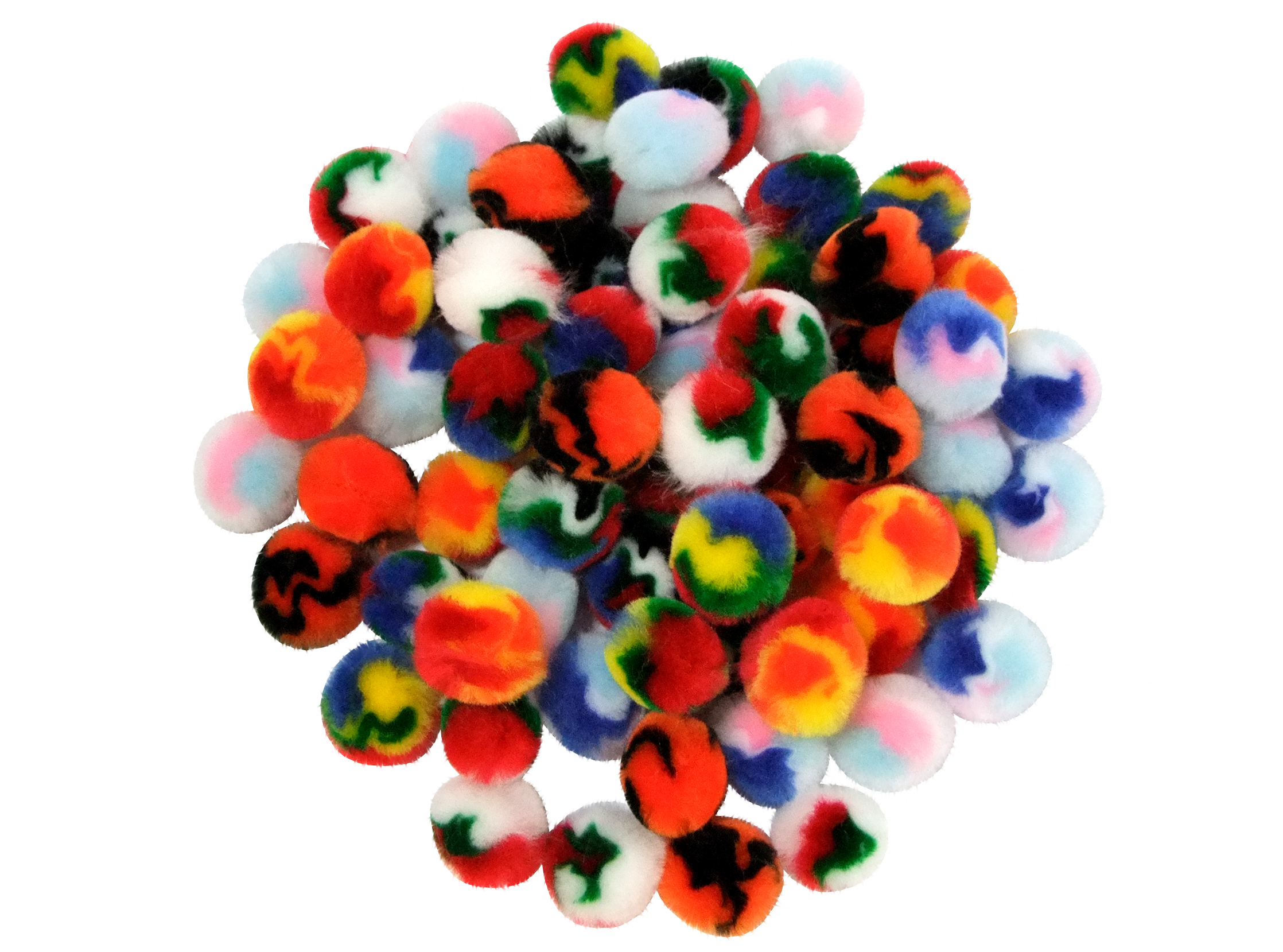 multicoloured pom poms