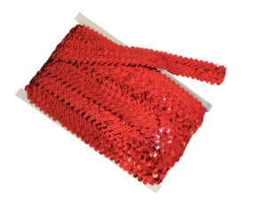 stretch sequin trim red