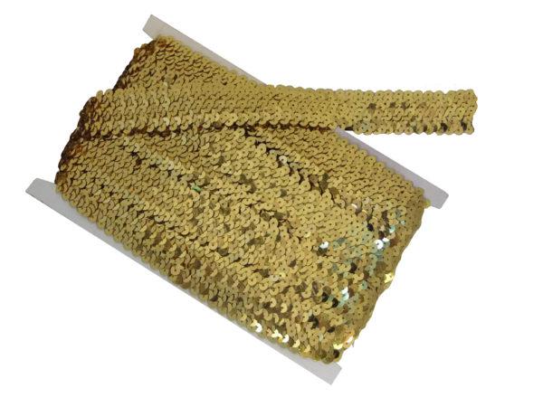 stretch sequin trim gold