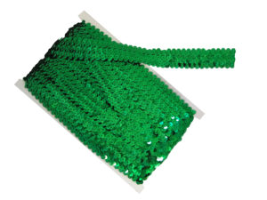 stretch sequin trim green