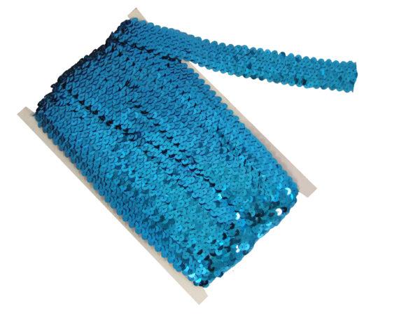 stretch sequin trim light blue