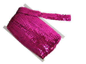 stretch sequin trim pink