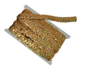stretch sequin trim holo gold
