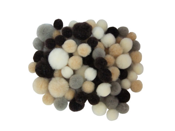 assorted natural colour pom poms