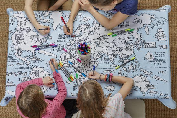 Eat Sleep Doodle Reusable Colour In Table Cloth