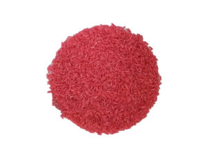 coloured rice for sensory play salmon pink