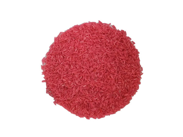 coloured rice for sensory play salmon pink