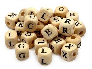 Wooden Alphabet Beads (100g)