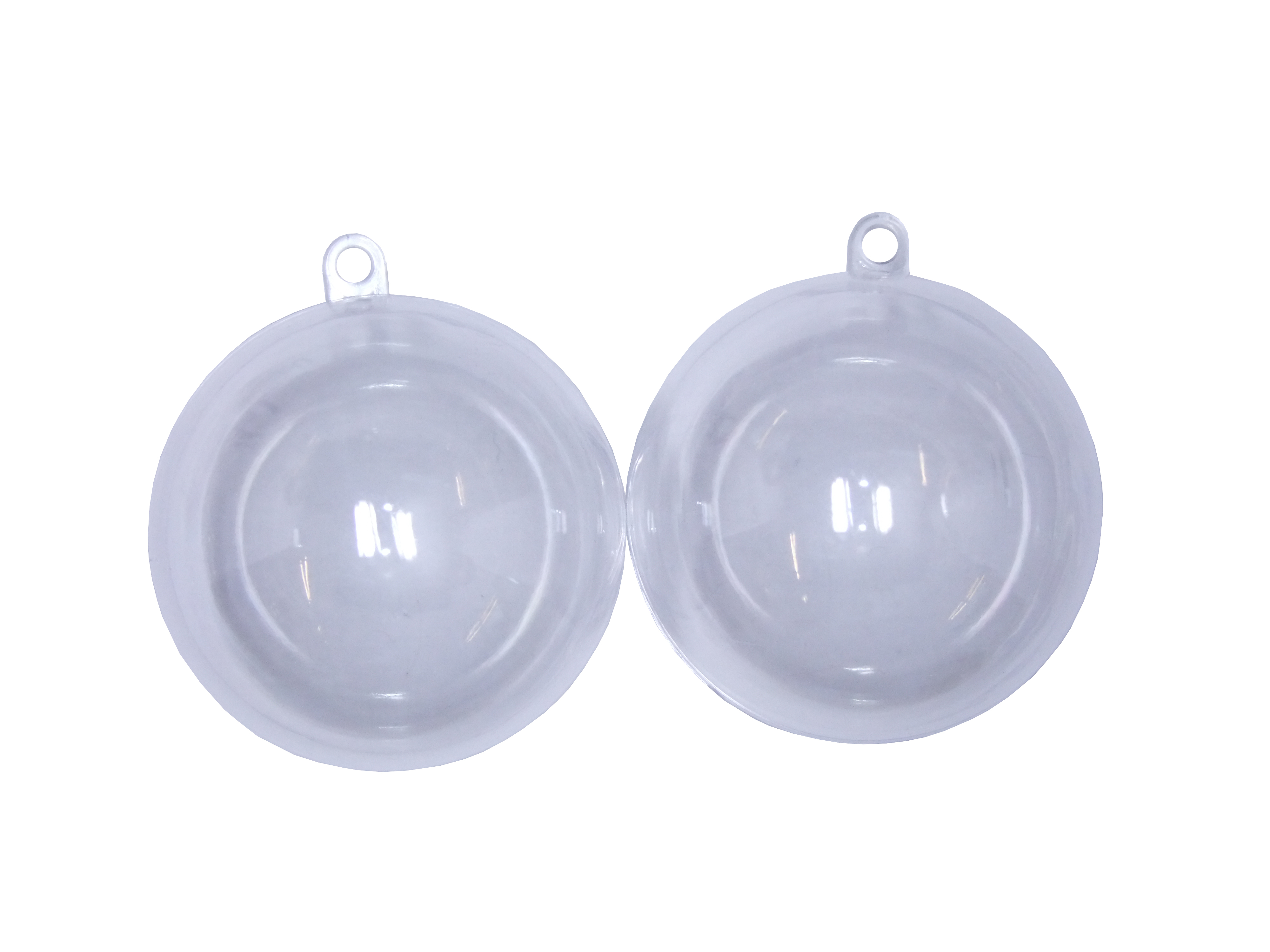 clear plastic baubles